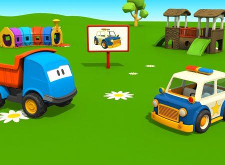 Cartoni Animati: Leo il Camion Curioso e la Macchina della Polizia