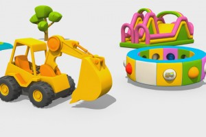 Cartoni Animati per Bambini – L'escavatore Max e la fantastica giostra: i grossi veicoli