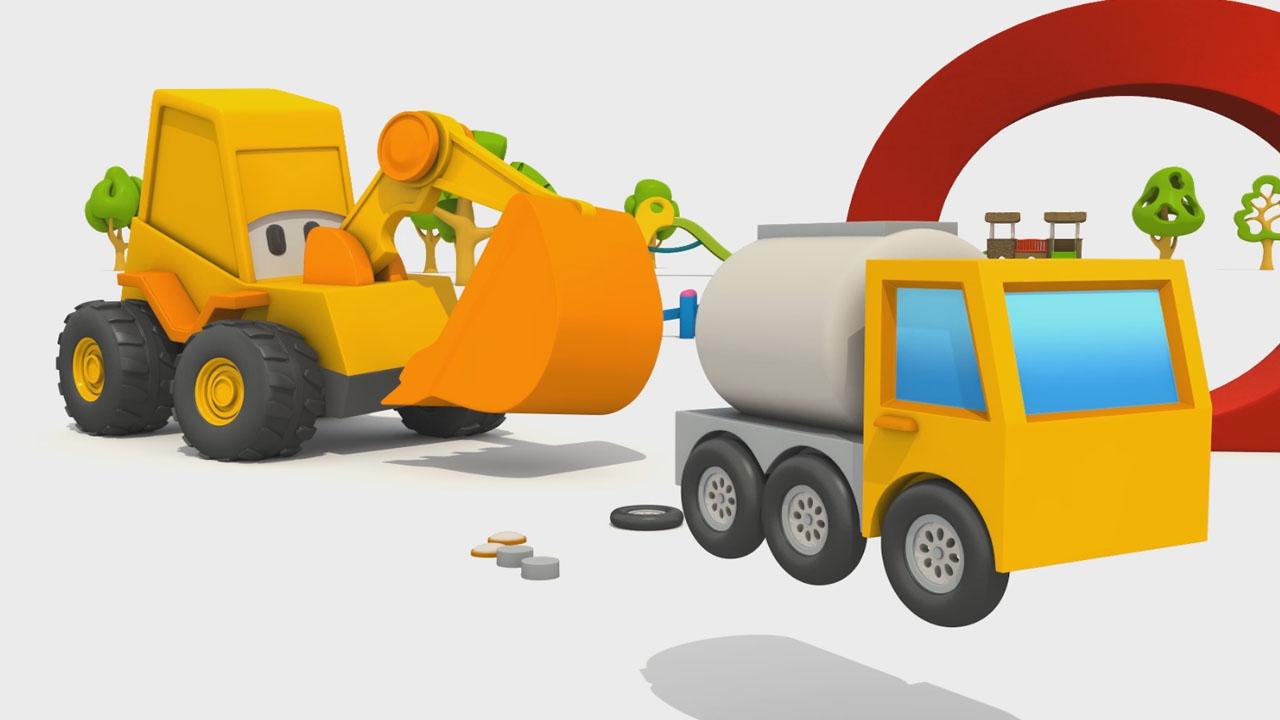 Max l'escavatore e un'autobotte