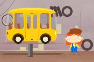 Dottoressa MacWheelie aggiusta un bus giallo