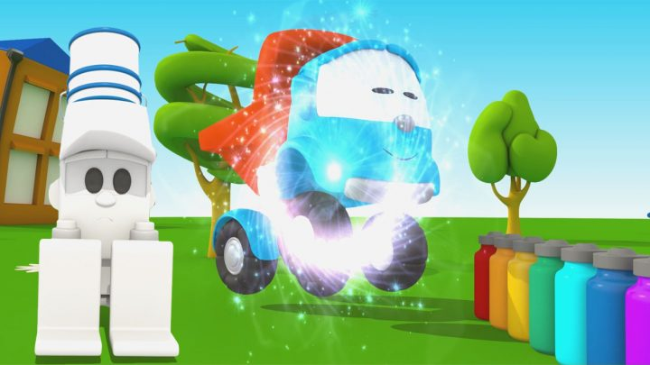 leo junior dipinge lifty carrello elevatore cartone animato per i bambini camion curioso 3