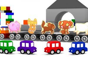 Macchinine colorate-Puzzle:gli animali