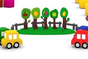 Macchinine colorate e alberi da frutta