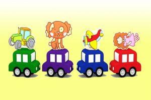 Macchinine colorate e il puzzle dei giocattoli