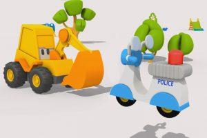 L'escavatore Max la moto della polizia