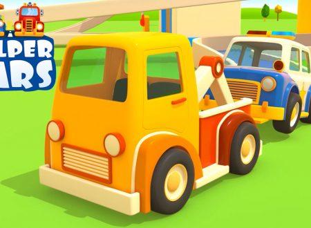 Helper cars: camion dei pompieri, l'autoambulanza, il carro attrezzi, la macchina della polizia