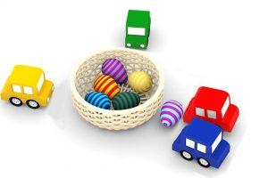 Macchinine colorate e le uova di pasqua