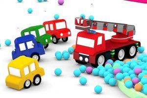 Le macchinine colorate costruiscono un camion dei pompieri