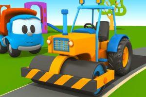 Leo il camion curioso e l' asfaltatrice !