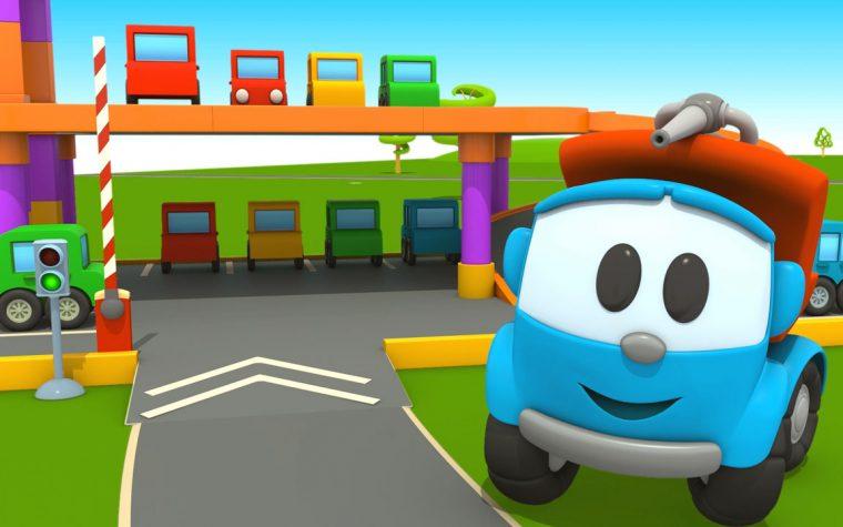 Camion Leo costruisce un grande parcheggio per le macchinine colorate