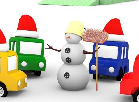 Le macchinine colorate ed il pupazzo di neve