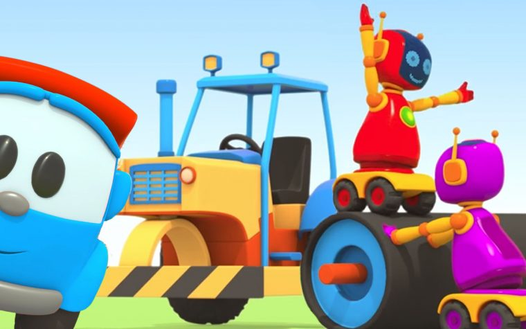 Leo il camion curioso ed il rullo compressore! Asfaltiamo la strada!